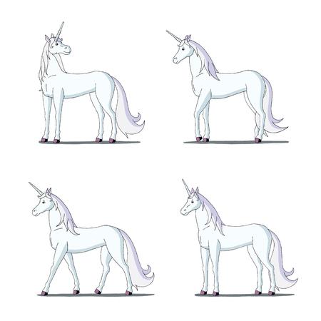 digital painting: Set of White Unicorn images. Digital painting  full color cartoon style illustration isolated on white background.