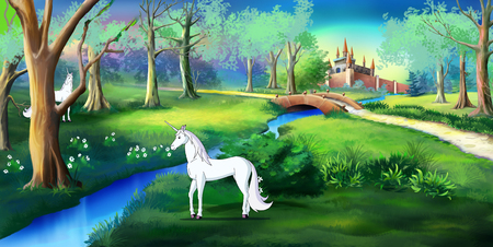 White Unicorn in a magic forest near a fairy tale castle. Digital painting  cartoon style full color illustration. 免版税图像