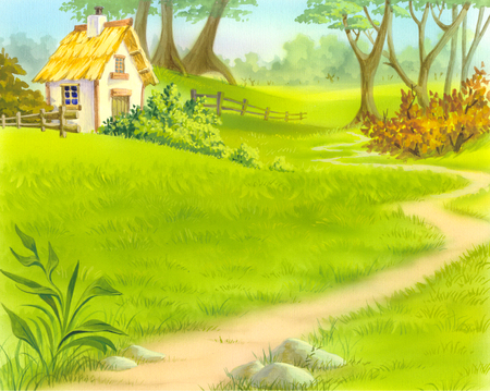 idyll: path near old wooden house. Cartoon Style Character, Fairy Tale Story Background.