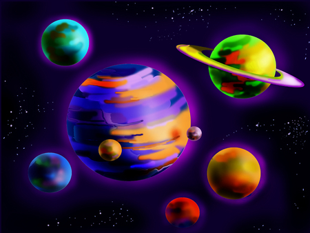 planetoid: Fantastic Planets in Space. Cartoon Style Character, Fairy Tale Story Background. Stock Photo