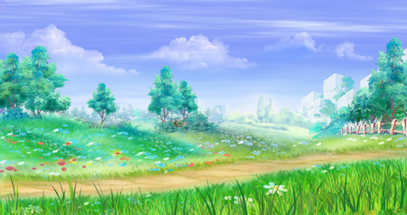 rural scene: Rural landscape with flowers and grass around a path. Cartoon Style Artwork Scene, Story Background.