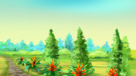 footpath: Stone Footpath Along the Field in a Summer Morning. Cartoon Style Character, Fairy Tale Story Background.