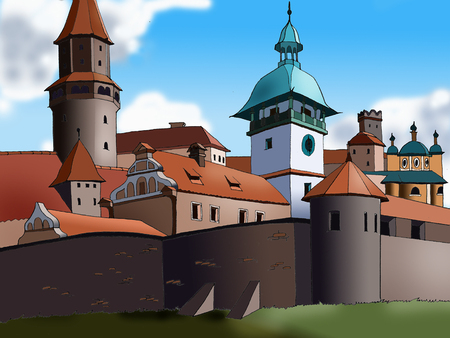 old city: Towers in the European Old City. Cartoon Style Character.