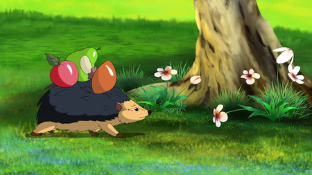 full color: Little hedgehogs goes home. Digital painting  cartoon style full color illustration.