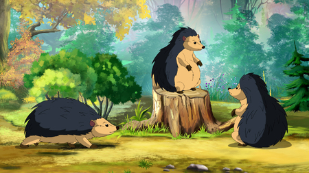 Hedgehogs family on a sunny forest glade in a morning. Digital painting  cartoon style full color illustration.