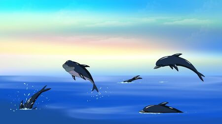 idyll: Flock of playful dolphins swimming and jumping in a ocean in the early morning. Digital painting  cartoon style full color illustration.