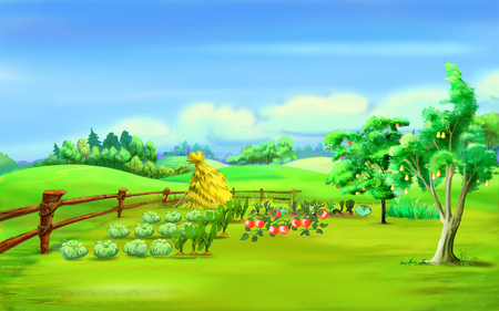 Haystack in a garden under blue sky in a summer day. Cartoon Style Character, Fairy Tale Story Background.