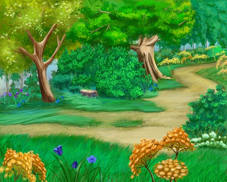 idyll: Rural landscape with bushes and grass around a path. Cartoon Style Artwork Scene, Story Background. Stock Photo