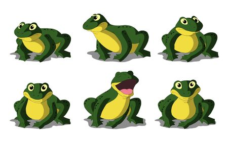 digital painting: Set of green frogs separate images. Digital painting  full color cartoon style illustration isolated on white background. Stock Photo