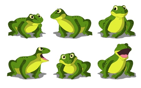 digital painting: Set of light green frogs separate images. Digital painting  full color cartoon style illustration isolated on white background. Stock Photo
