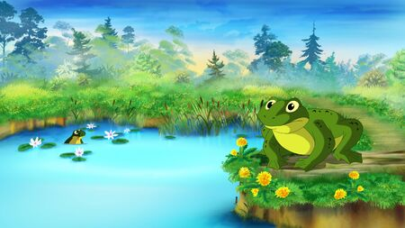 croaking: Green Frog Sitting and Croaking Near the Pond in a Summer day. Digital painting  cartoon style full color illustration.
