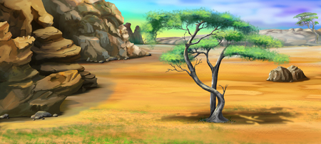 rocky mountains: acacia tree near the rocky mountains. Cartoon Style Character, Fairy Tale Story Background. Stock Photo