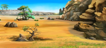 torrid: African landscape with trees near the mountains. Cartoon Style Character, Fairy Tale Story Background.