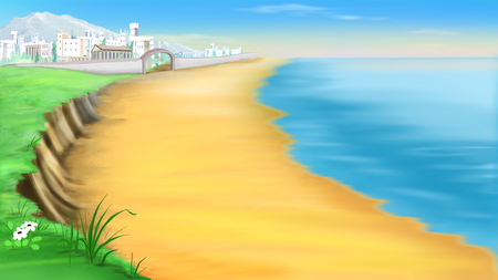 sea view: desert coast near ancient Troy in a summer day. Cartoon Style Character, Fairy Tale Story Background.