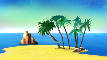 idyll: palm trees on a deserted coast of the tropical island in a hot summer day. Cartoon Style Artwork Scene, Story Background. Stock Photo