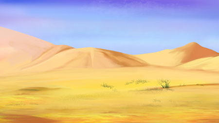Sand dunes under a blue sky in a desert. Cartoon Style Character, Fairy Tale Story Background.
