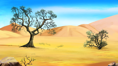 torrid: trees on the edge of the desert. Cartoon Style Character, Fairy Tale Story Background.