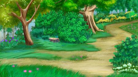 Bäume, Blumen und alten Stumpf in der Nähe von einem Fußweg in einem grünen Sommerwald. Digital Painting Hintergrund, Illustration im Cartoon-Stil Charakter. Standard-Bild