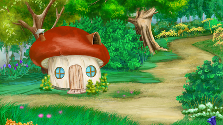digital painting: Fairy Tale Background with mushroom house. Digital Painting, Illustration in cartoon style character.