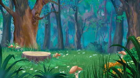 Mushrooms around the stump in a forest glade. Digital Painting Background, Illustration in cartoon style character. Standard-Bild