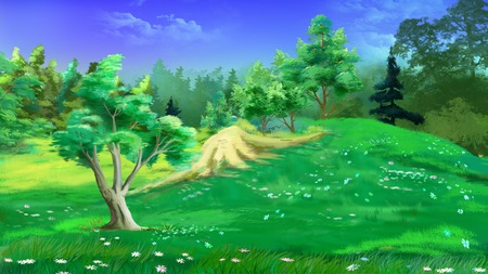 idyllic: Idyllic Landscape with Grass and Flowers in a Summer Day. Digital Painting Background, Illustration in cartoon style character.