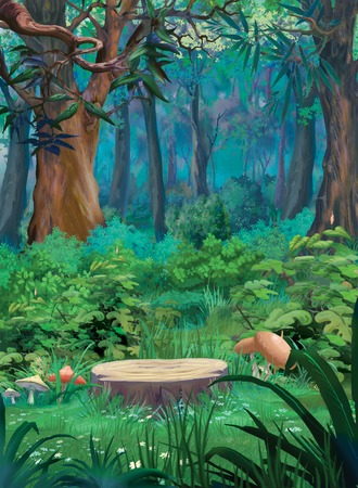 Old tree stump and mushrooms in a summer forest. Digital Painting Background, Illustration in cartoon style character.
