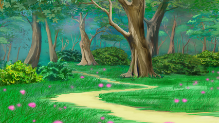 footpath: Footpath in a Fairy Tale Summer Forest. Digital Painting Background, Illustration in cartoon style character.