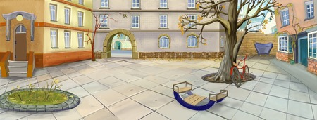 late autumn: Empty Courtyard in late Autumn. Digital Painting, Illustration in cartoon style character.