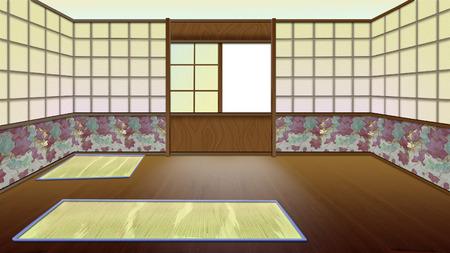 chambre traditionnelle japonaise intrieur fond de peinture numrique illustration de caractre de style de - Chambre Traditionnelle Japonaise