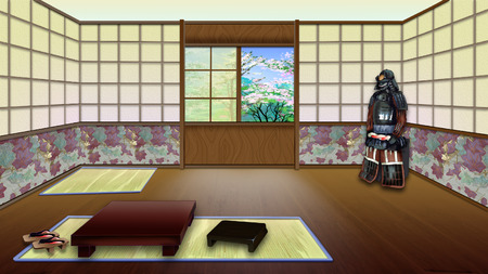 digital painting: Traditional Japanese Room Interior. Digital Painting Background, Illustration in cartoon style character.