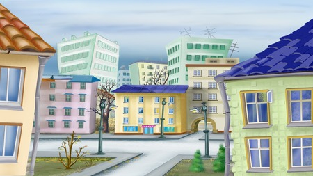 digital painting: Cityscape in a late autumn Day. Digital Painting Background, Illustration in cartoon style character.