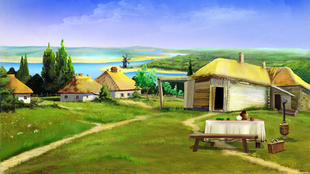 digital painting: Traditional farm buildings in the old village in the depths of eastern Europe . Digital Painting Background, Illustration in cartoon style character.