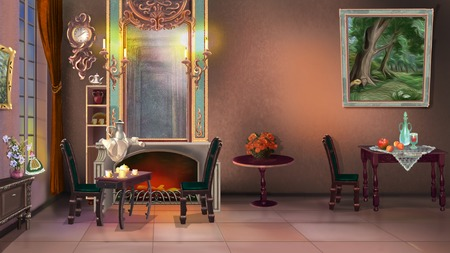 digital painting: Digital Painting Background, Illustration of Vintage Home Interior in 19ht century style
