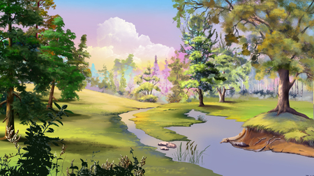idyllic: Beautiful view of idyllic autumn landscape with River and Forest Edge. Digital Painting Background, Illustration.
