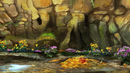 pit fall: Autumn Leaves and flowers on the ground at the foot of a mountain. Digital Painting Background, Illustration. Stock Photo