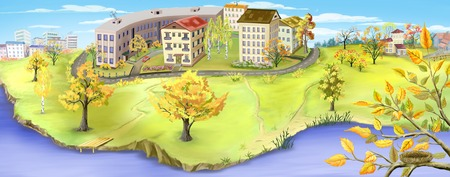 digital painting: Autumn landscape with small city near a river. Digital Painting panoramic background, Illustration.