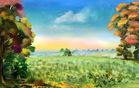 Idyllic landscape with Beautiful Field Pea in Early Autumn. Digital Painting Background, Illustration.
