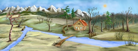 late autumn: Gloom and dull landscape with Small House Near the River in late Autumn. Digital Painting Background, Illustration.