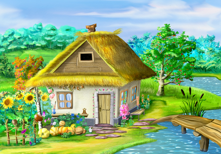 ukraine: Traditional Ukrainian building in the old village in the depths of eastern Europe. Digital Painting Background, Illustration in cartoon style character.