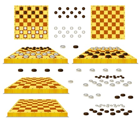 Set of Chessboard and Checkers separate images. Digital painting  full color cartoon style illustration isolated on white background. Stock Photo