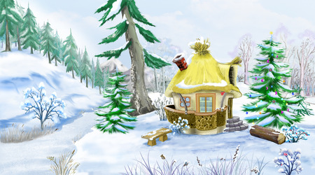 idyll: Snowman with a Christmas Tree in a Fairy Tale New Year Night. Handmade animation in classic cartoon style