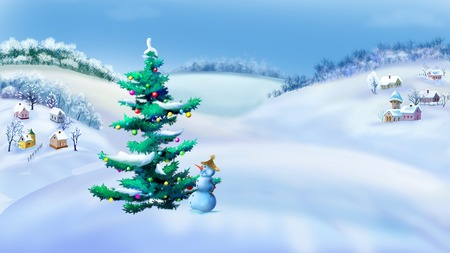 Rural Landscape with Christmas Tree and Snowman in a Wonderful Winter Day.  Outdoor  New Year scene, handmade illustration  in a classic cartoon style.