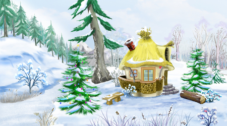 idyll: Green Spruces near a Fairy Tale House in a Winter Forest at  New Year Eve. Handmade illustration in a classic cartoon style.