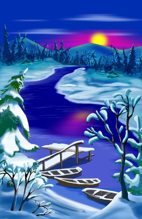 rural scene: Idyllic Rural Landscape at Christmas Night with Boats near the Pier.  Outdoor New Year scene, handmade illustration  in a classic cartoon style.