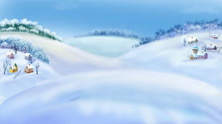 rural scene: Romantic Rural Landscape in a Wonderful Winter Day.  Outdoor  New Year scene, handmade illustration  in a classic cartoon style.