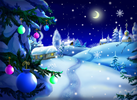 Christmas & New Year Night Landscape with Christmas Tree and small village  in a wonderful winter night.  Outdoor scene, handmade illustration  in a classic cartoon style.