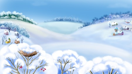rural scene: Romantic Rural Landscape in a Wonderful Frosty Winter Day.  Outdoor  New Year scene, handmade illustration  in a classic cartoon style.