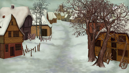 Winter Landscape of Old Dutch Village on a cloudy day.  Handmade illustration in a classic cartoon style. Stock Photo