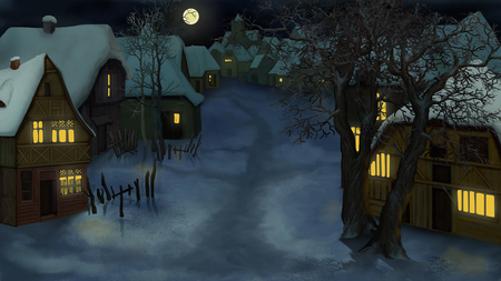 Winter Landscape of Old Dutch Village at dark Night. Handmade illustration in a classic cartoon style.