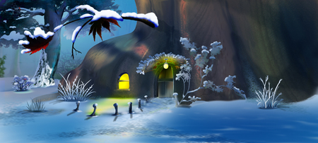 Forest Gnomes House in the New Years Eve.  Panorama View. Handmade illustration in a classic cartoon style.